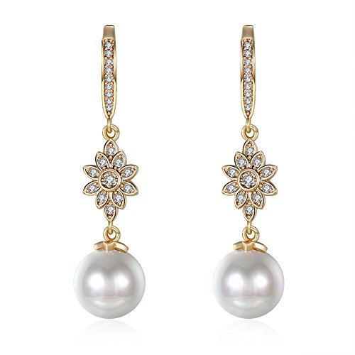 Pearl Metal Gold Plated Earrings (Inlay Cubic Zirconia Front Hoop Earrings with Dangling White Pearl (Dangle Flower))