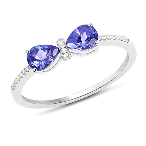 14K White Gold Tanzanite and White Diamond Ring (0.63 cttw, I-J Color, I2-I3 Clarity) from Johareez (Tanzanite Gold Jewelry Ring White)