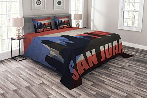 Lunarable Puerto Rico Bedspread, Abstract City Silhouette with San Juan Lettering Retro Style Flag Background, Decorative Quilted 3 Piece Coverlet Set with 2 Pillow Shams, Multicolor