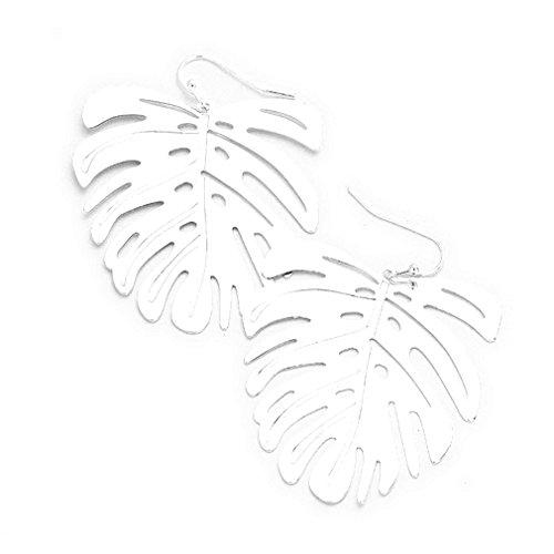 Uniklook Women's Palm Leaf Cut Out Dangle Metal Fish Hook Earrings Fashion jewelry (silver) - Palm Leaf Cut Out