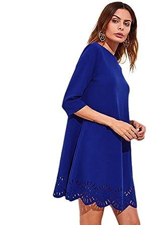 SHEIN de la mujer cuello redondo manga corta Hollow vestido de cambio - Azul - : Amazon.es: Ropa y accesorios