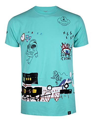 SCREENSHOTBRAND-S11925 Mens Hip-Hop Ultra Premium Tee Longline Urban Streetwear Graffiti Print T-Shirt-Aqua-Small
