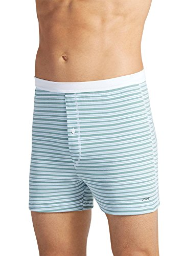 Jockey Men's Underwear Seamless Waistband Knit Boxer, blue/green stripe, XL