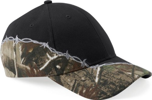 Ikat Kati Camo Cap with Barbed Wire Embroidery, Black/Realtree AP (Realtree Hats)
