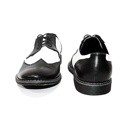 PeppeShoes Modello Capones Due - Handmade Italiennes Cuir Pour des Hommes White Chaussures Oxfords - Cuir de Vachette Cuir Souple - Lacer