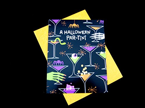 Halloween Party Invitations Pack - Halloween Part-Tini Style - 10 Card Count - Great for Haunted House Parties - Comes with Paper Envelopes - By Qornerstone (Halloween Party Invitations To Make)