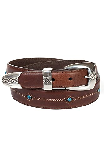 Cody Buckle (Cody Turquoise Tapered Leather Belt, BROWN, Size)