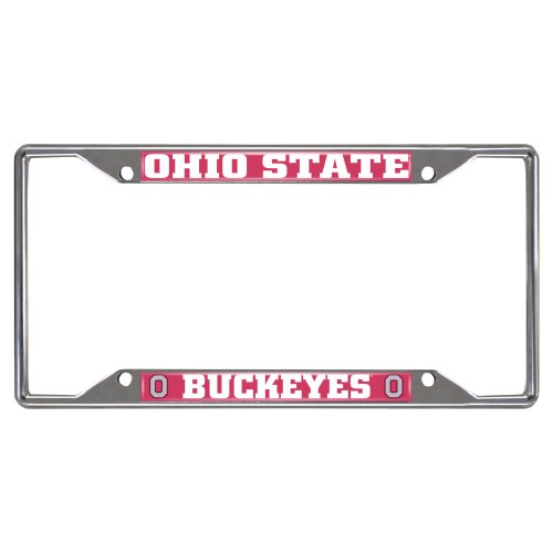FANMATS  14871  NCAA Ohio State University Buckeyes Chrome License Plate (Frame Ncaa Mens Basketball)