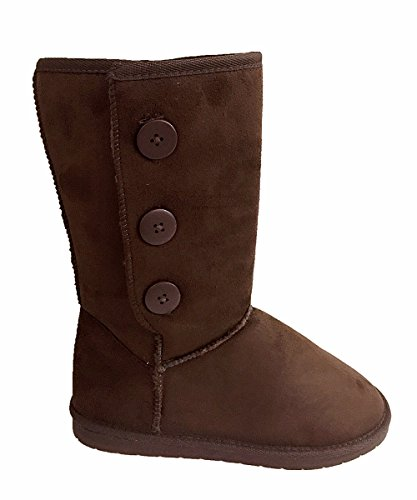 Womens Fur- Lined Mid-calf 3 Buttons Faux Soft Snow Winter Flat Boot Shoes NEW Brown 9tqbPhq4bF