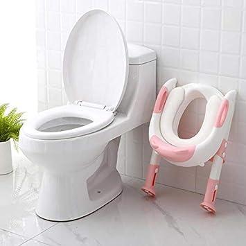 TOOGOO Pliant B/éb/é Potty Infant Enfants Si/èGe DEntra?Nement Toilette avec /éChelle R/éGlable Portable Urinoir Potty Si/èGe de Toilette pour Enfants Rose