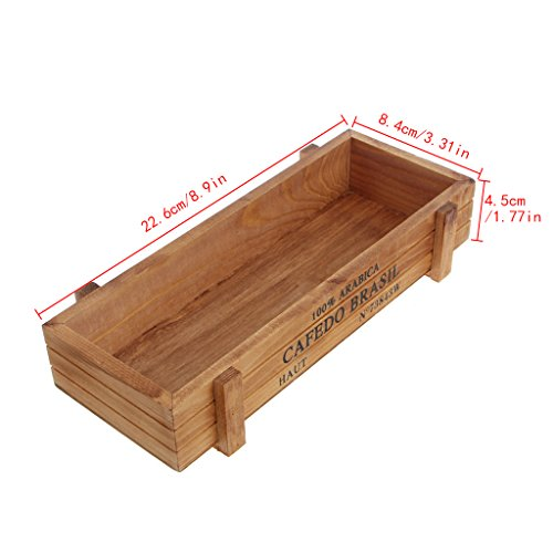 Allrise Wood Flower Pot, Vintage Wood Garden Planter Succulent Pot Rectangle Trough Box Plant Bed (Brown) - Wood Pot
