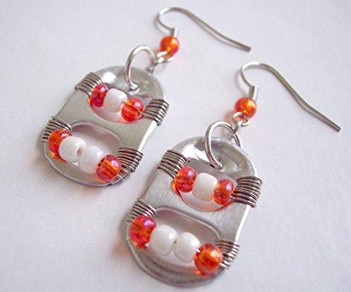 Pop Tab Earrings Orange and White ()