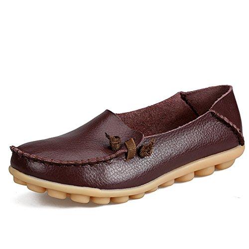 Zapatos de mujer de cuero genuino Mujer Pisos ocasionales Mocasines de la madre Calzado de conducción de mujeres Zapato de barco sólido Coffee 6