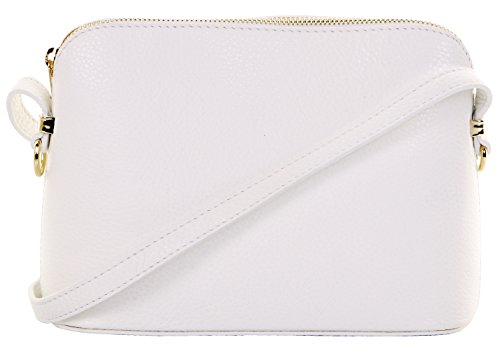 Italian Textured White Leather Hand Made Small Triangular Adjustable Strap Shoulder or Crossbody Bag. Includes a Branded Protective Storage - Leather Textured White