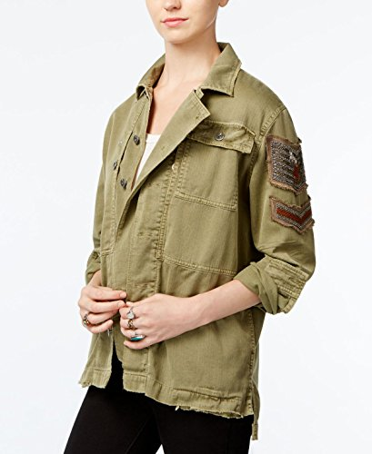 Free People Womens Embellished Distressed Button-Down Top Green Medium