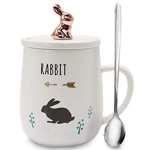 Sunddo White Rabbit Mug Cute Bunny Mugs Funny Ceramic Rose Gold Animal Coffee Tea Cups with Lid Stainless Steel Teaspoon for Rabbit Lovers Coffee Lover 14 OZ