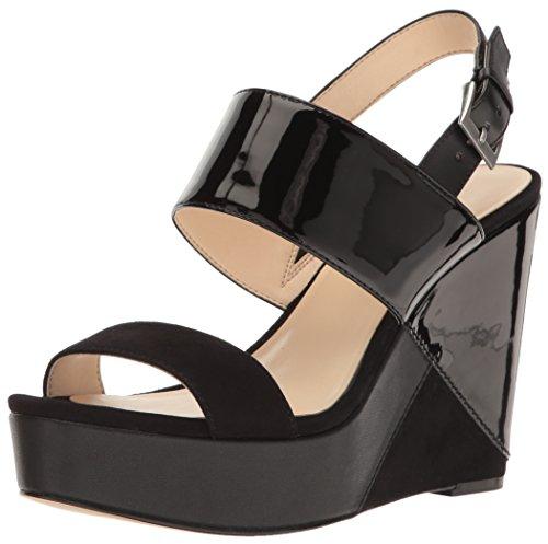 Nine West Women's Dreamz Synthetic Wedge Sandal, Black Multi, 7.5 M (Multi Wedge Sandal)