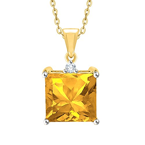 - KATARINA Diamond and Princess Cut Citrine Fashion Pendant Necklace in Sterling Silver (5 1/8 cttw, G-H, I2-I3)