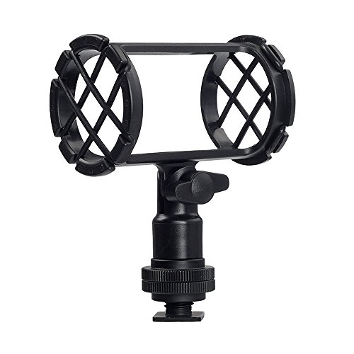 (Shock Mount for Shotgun Mic Interview Recording, BOYA BY-C04 Camera Microphone Shockmount & Hot Shoe Mount for Professional Shotgun Microphone Senheisser ME66 Rode NTG-2 NTG-1 Audio-Technica AT-875R)