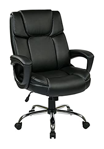 Office Star Executive Black Eco Leather Big Mans Adjustable Office Chair with Padded Loop Arms and Chrome - Chair Chrome Base