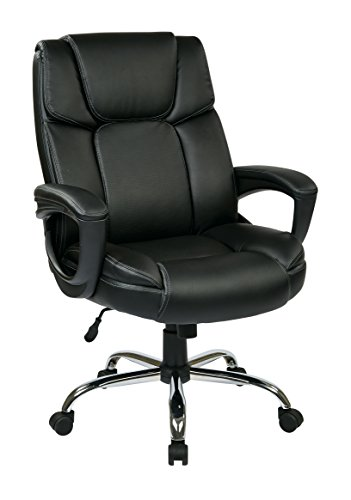 Office Star Executive Black Eco Leather Big Mans Adjustable