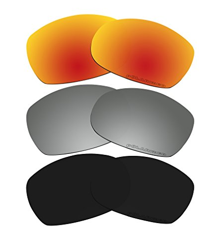 3 Pairs Polarized Lenses Replacement Red & Black & Black Iridium for Oakley Sideways - Sideways Sunglasses