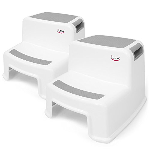 2 Step Stool for Kids (2 Pack) | Toddler Stool for Toilet Potty Training | Slip Resistant Soft Grip for Safety as Bathroom Potty Stool and Kitchen Step Stool | Dual Height & Wide Two Step | by iLove -
