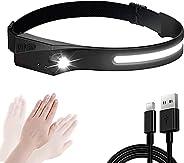 LED Headlamp Flashlight 350 Lumen USB Rechargeable Headlamp 230°Wide Headlight, Waterproof, Motion Sensor Head