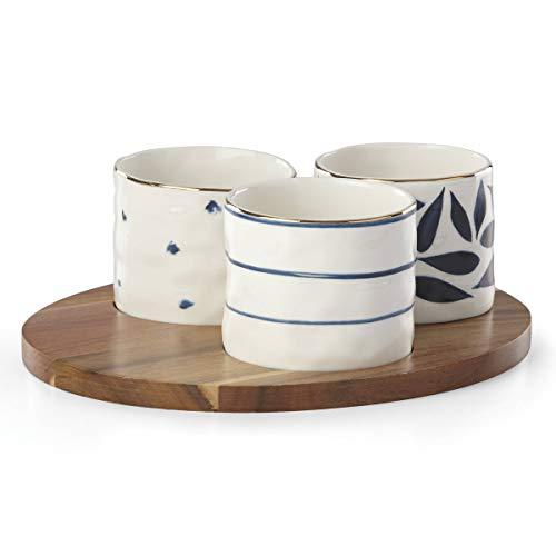 LENOX Blue Bay 4-Piece Snack Bowl & Tray Set, 2.30 LB