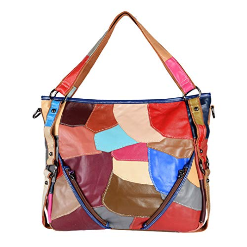 (Colorful Tote Genuine Patchwork Leather H bags Messenger Bag Lady Purse K808 Colorful)