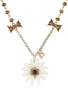 "Betsey Johnson ""Iconic Summer Metallics"" Pearl Flower Pendant Necklace, 19"""