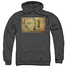 Trevco The Hobbit-Middle Earth Map Adult Pull-Over Hoodie, Charcoal - Medium