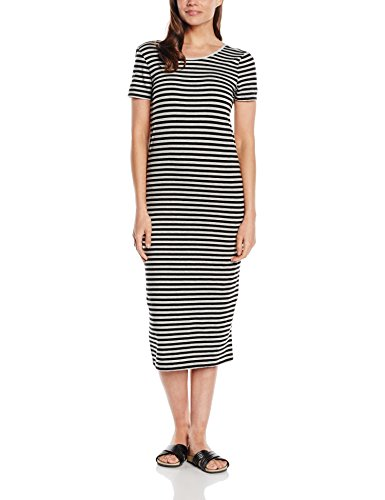 Dress black Femme And Lgm Stripes Robe Stripe Onlabbie Calf Black Only SS Multicolore wIpqpa
