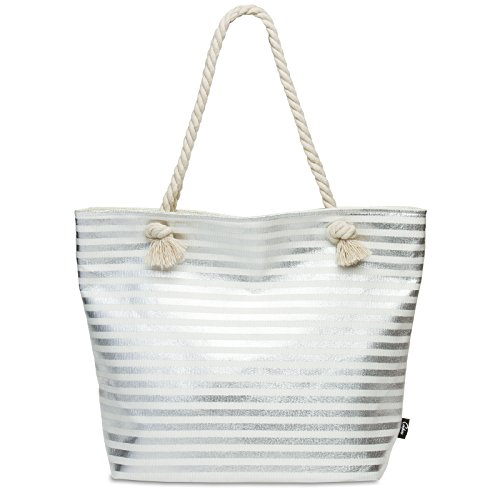 CASPAR TS1058 XL Bolso de Playa para Mujer/Bolso de Mano Shopper con Rayas Metalizados Plateado