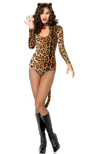 Leg Avenue Women's 2 Piece Wildcat Keyhole Teddy Costume With Tail And Ear Headband, Leopard, Medium/Large -