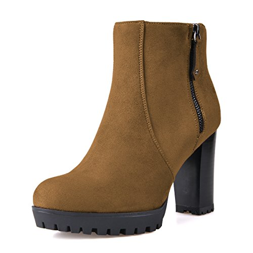 FSJ Women Stacked Chunky Heel Ankle Boots with Platform Round Toe Comfortable Winter Shoes Size 9 Brown