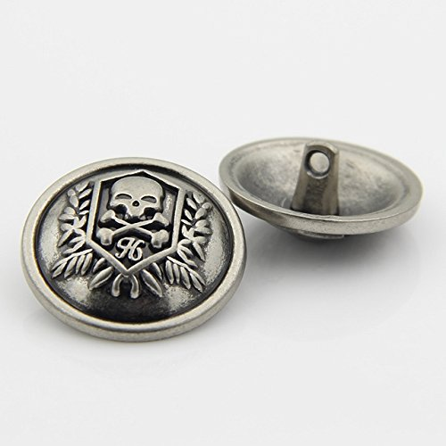 [Skull Metal Shank Buttons for Suits Coats Sweaters(Matte Black/Antique Silver,Pack of 6) (0.98 inches, Antique silver)] (Skull Buckle Metal)
