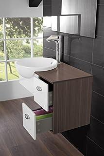 mobile arredo bagno 80cm moderno sospeso wengè grigio con lavabo d ... - Arredo Bagno Grigio