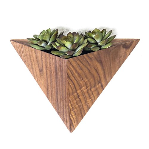 Geometric Planter box, Triangular Indoor Planter, Wall Mounted Black Walnut Planter 410r2L63UpL