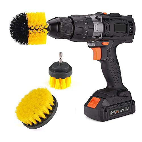 Drill Brush Set 3 Piece Scrubber Brush Attachment Kit Tile Cleaning Brush Grout Brush for Bathroom surface, All Purpose Brush for Drill Bathtub Cleaner- Fits Most Drills(3 in 1-Yellow/Black)
