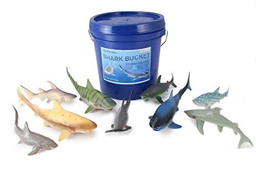 WellPackBox Big Blue Bucket 9 Large Shark Toy Animal Figures For Toddlers Kids Boy Girls Party Supplies Bath Tub Adventures (Shark Toys Kids)