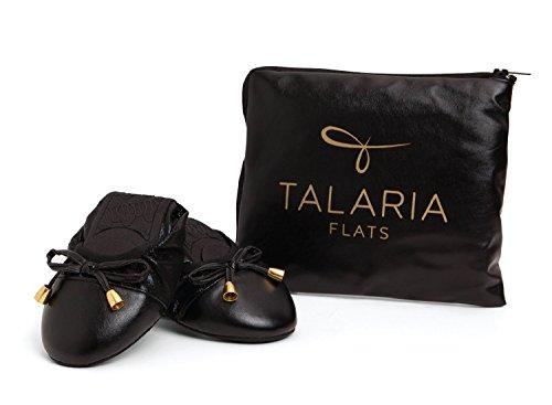 Talaria Flats Womens Foldable Ballet Flats Size 6 Black