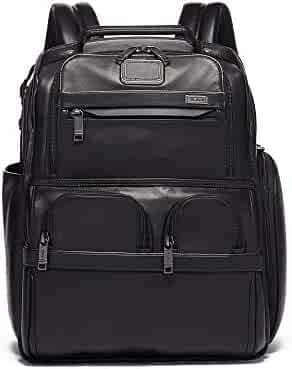 TUMI - Alpha 3 Compact Laptop Brief Pack - 15 Inch Leather Computer Backpack for Men and Women - Black
