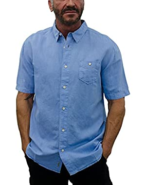 Men's Short Sleeve Linen Shirt with Contrast Stitches