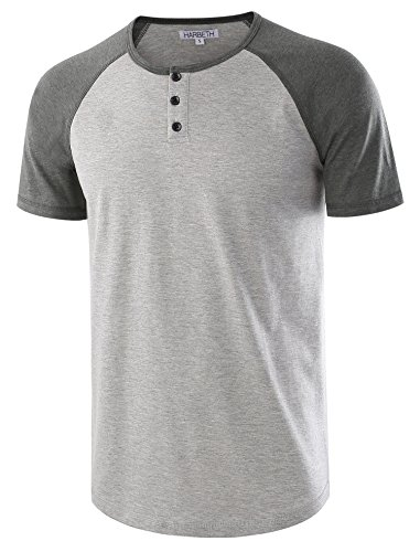 HARBETH Men's Casual Short Sleeve Henley Shirt Raglan Fit Baseball T-Shirts Tee H.Gray/S.Green XXL (Short Sleeve Tee Regular)