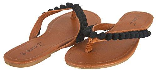11 Womens Pom Pom - Sara Z Ladies Pom Pom Thong Sandal 11 Black