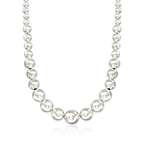 Italian Bead Necklace (Ross-Simons Italian 6-14mm Sterling Silver Graduated Bead Necklace)