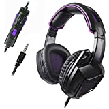 Sades SA920 3.5mm Wired Over Ear Stereo Bass Gaming Headphone Headset with Microphone for New Box one/ PS4/ PC/iOS /Computer/Smart Phones/Mobiles /Laptop/Mac /(Black Purple)