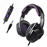 Xbox One PS4 Gaming Headset SADES SA-920PLUS Wired Stereo Noise Canceling Headphone with Volume Control Mic for New Xbox One Laptop PC Mac Smart Phone (Black Purple)