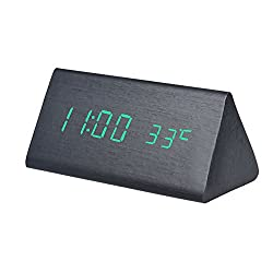 Triangle Wooden LED Alarm Clock, Austark Creative Sound Control Digital Table Clock with Time Temperature Display & 12/24 Hour Format for Home Office (Green Light)